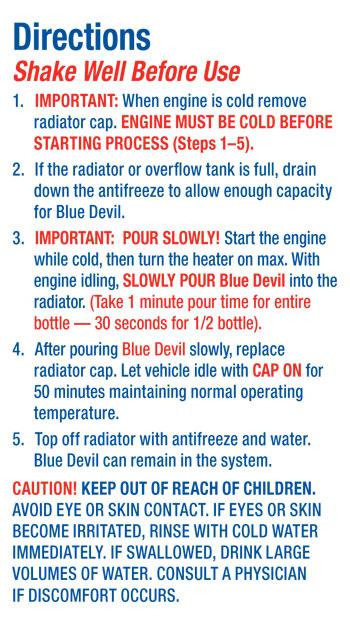 Head Gasket Sealant Blue Devil Permanent Sealer 16 Oz Ebay